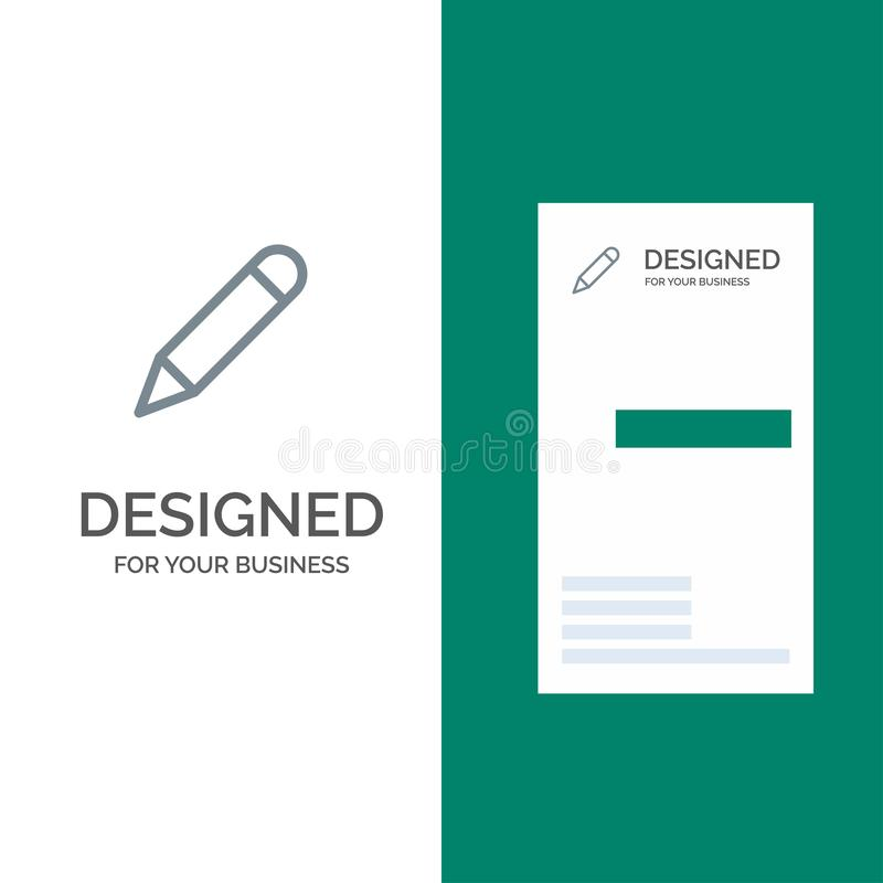 Crayonnez, étudiez, instruisez, écrivez Grey Logo Design et le calibre de carte de visite professionnelle de visite illustration libre de droits