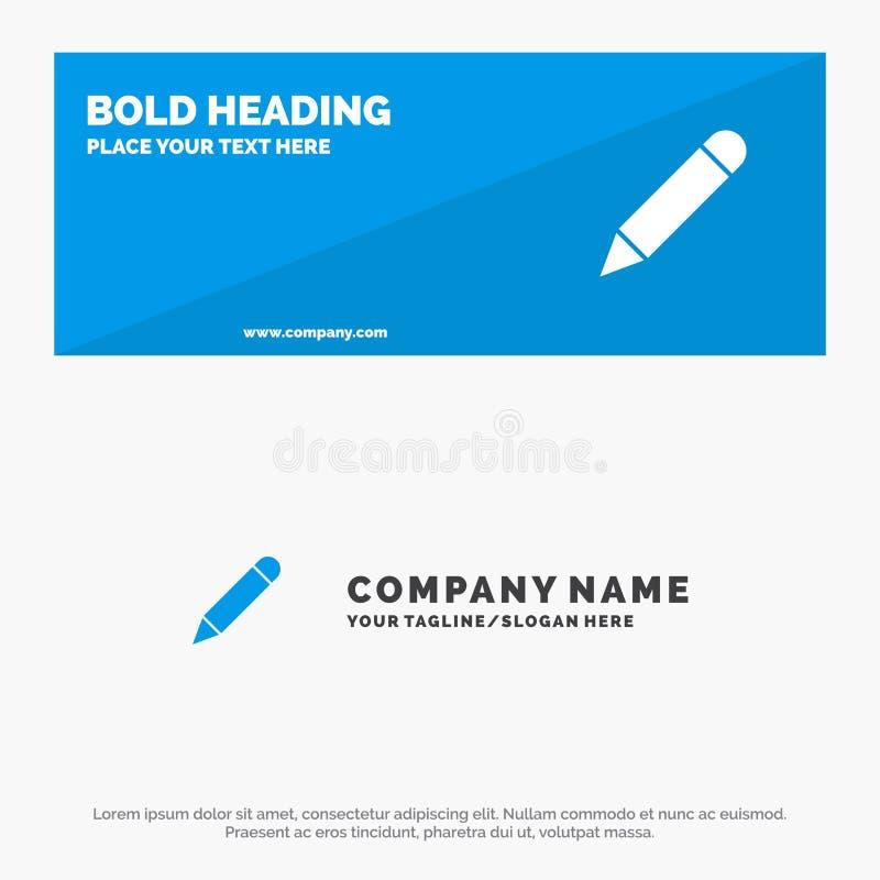 Crayonnez, étudiez, instruisez, écrivez la bannière solide et les affaires Logo Template de site Web d'icône illustration libre de droits