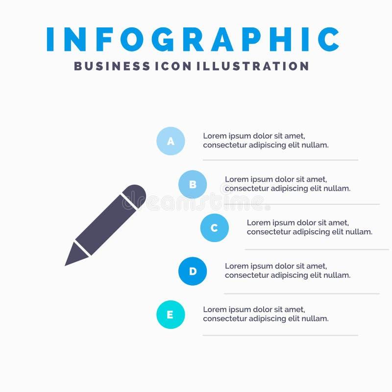 Crayonnez, étudiez, instruisez, écrivez le fond solide de présentation d'étapes d'Infographics 5 d'icône illustration de vecteur