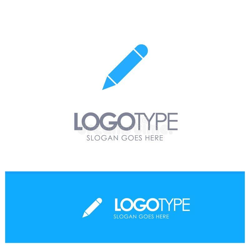Crayonnez, étudiez, instruisez, écrivez le logo solide bleu avec l'endroit pour le tagline illustration libre de droits