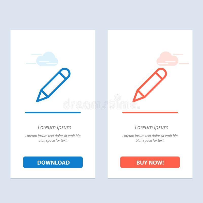 Crayonnez, étudiez, instruisez, écrivez le téléchargement bleu et rouge et achetez maintenant le calibre de carte de gadget de We illustration de vecteur