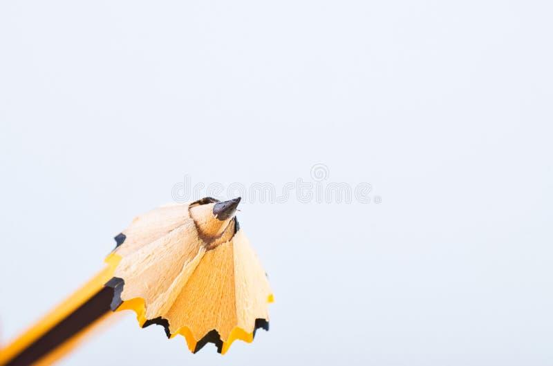 Crayonnez avec lui les copeaux au-dessus du fond blanc image stock
