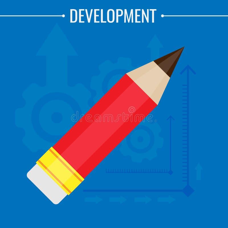Crayonnez avec une gomme de couleur rouge, sur un fond bleu Illustration de vecteur illustration stock