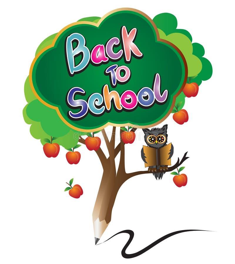 Crayonnez de nouveau à l'éducation d'école par le pommier et le hibou verts illustration stock