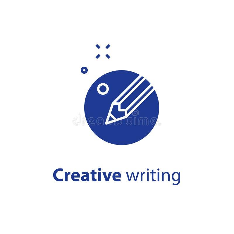 Crayonnez en cercle, rédaction publicitaire, écriture satisfaite, concept créatif de fabulation, icône de vecteur illustration de vecteur