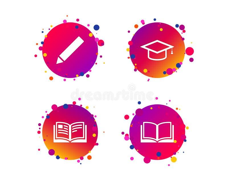 Crayonnez et ouvrez les signes de livre Icône de chapeau d'obtention du diplôme Vecteur illustration libre de droits