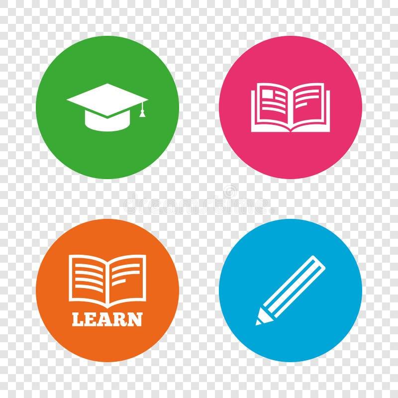 Crayonnez et ouvrez les signes de livre Icône de chapeau d'obtention du diplôme illustration stock