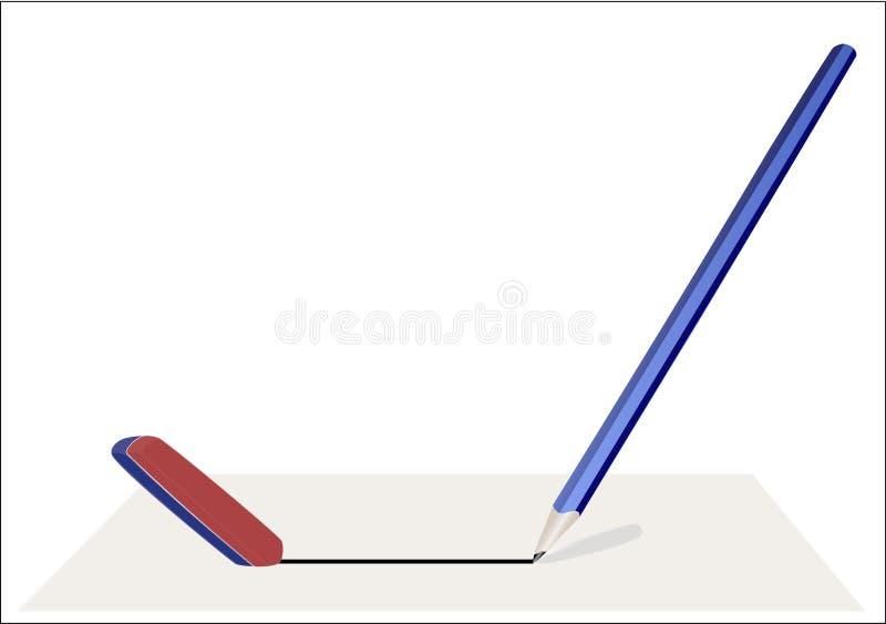 Crayonnez et une bande élastique illustration stock