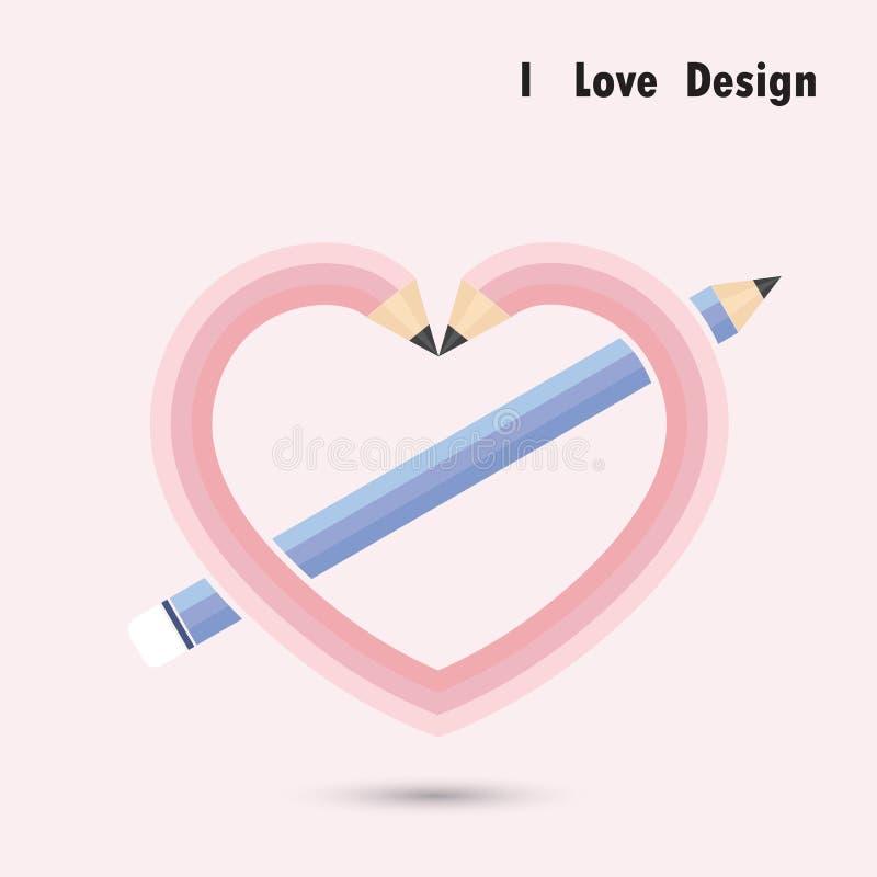 Crayonnez la forme de coeur avec le concept de construction d'amour d'I illustration de vecteur