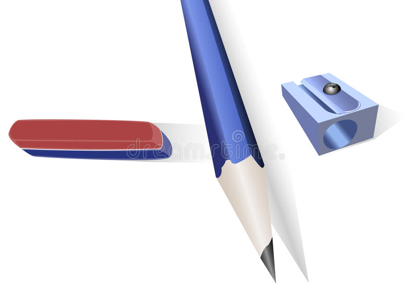 Crayonnez, taille-crayons et une bande élastique illustration stock