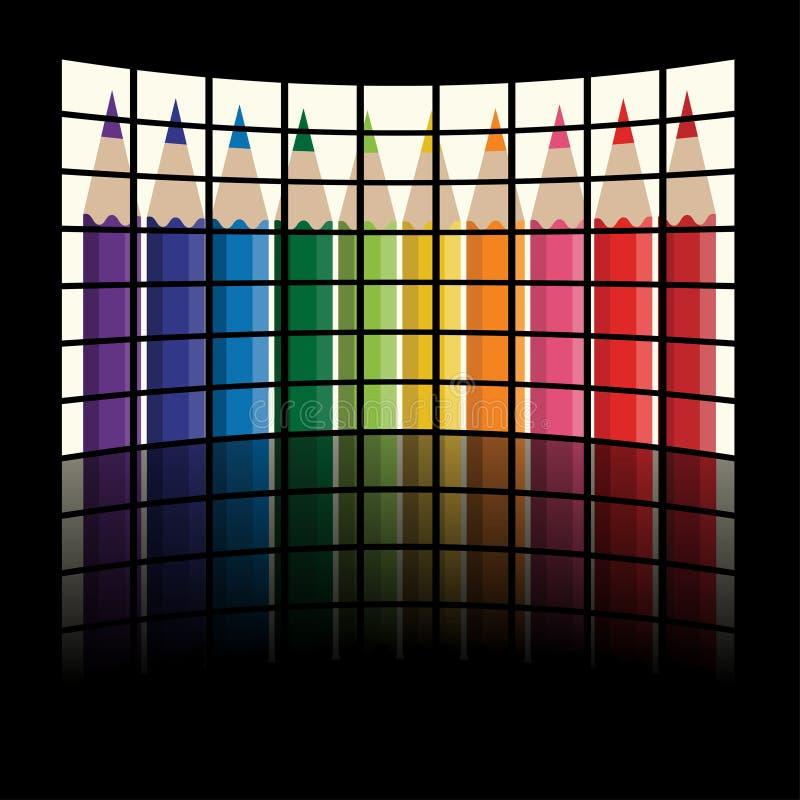 crayons радуга tv панелей lcd иллюстрация вектора