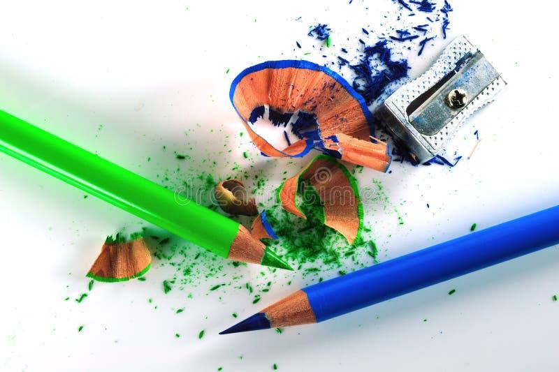 Crayons affilés image stock