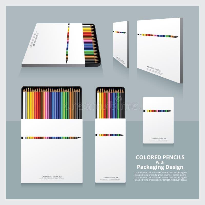 Crayons colorés avec la conception d'emballage illustration stock