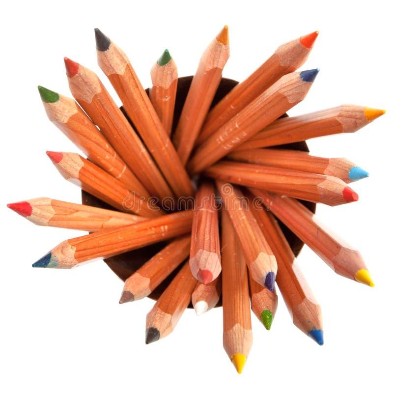 Crayons colorés avec le fond blanc images libres de droits