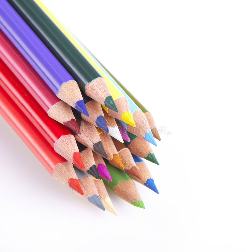 crayons colorés blancs image libre de droits