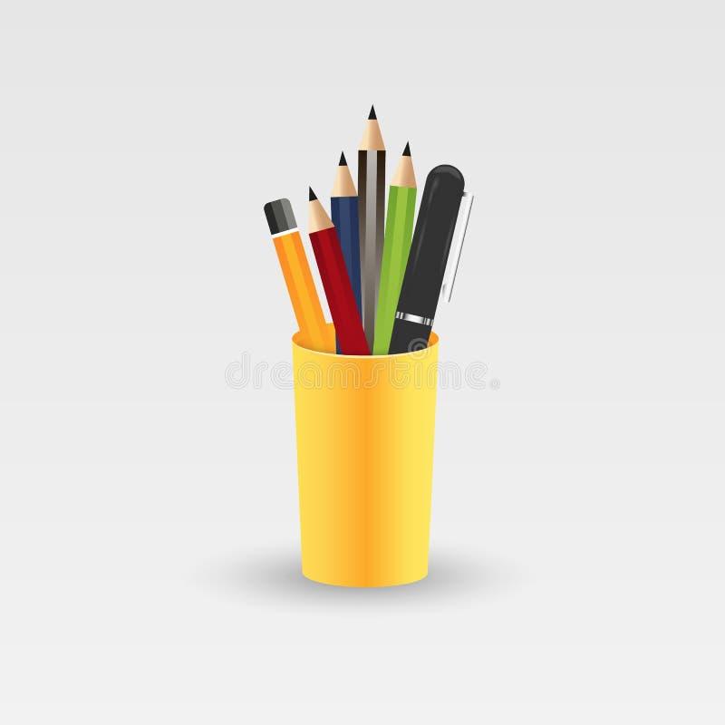 Crayons colorés dans un verre pour le bureau Illustration de vecteur d'isolement sur le fond blanc illustration de vecteur