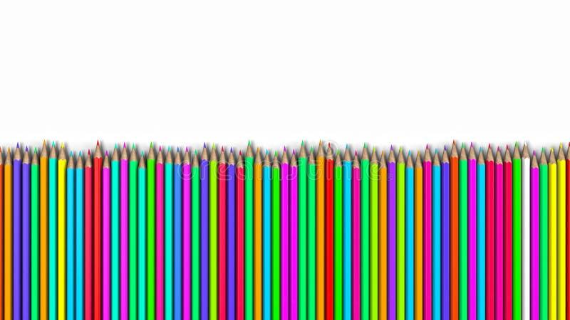 Crayons colorés dans une rangée, une pile de crayons photographie stock libre de droits