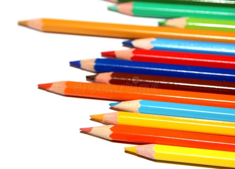 Crayons colorés empilés images libres de droits