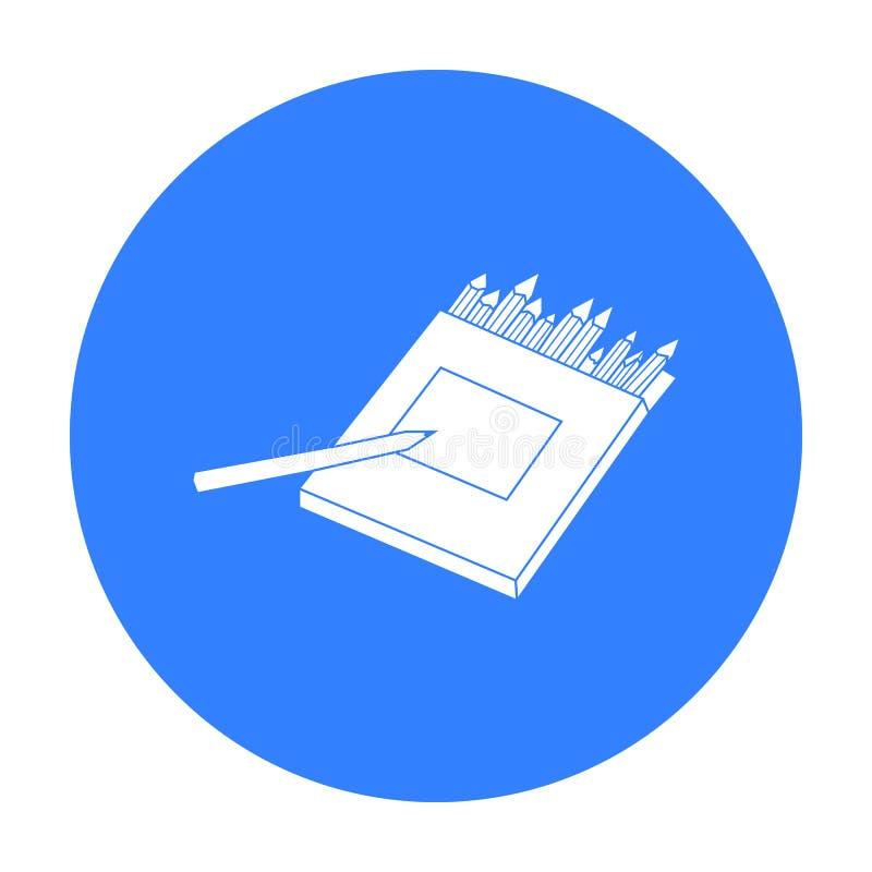 Crayons colorés pour dessiner dans l'icône de boîte dans le style noir d'isolement sur le fond blanc Actions de symbole d'artiste illustration stock