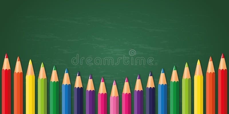 Crayons colorés sur le fond de tableau noir d'école illustration stock