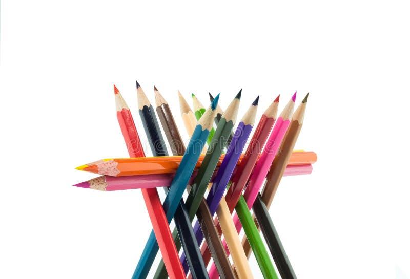 Crayons, coloration, équipement de dessin d'isolement sur le blanc image stock