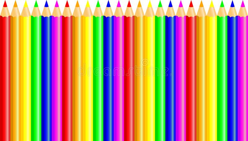 Crayons - colored pencil set loosely arranged - vector on white background. stock illustration