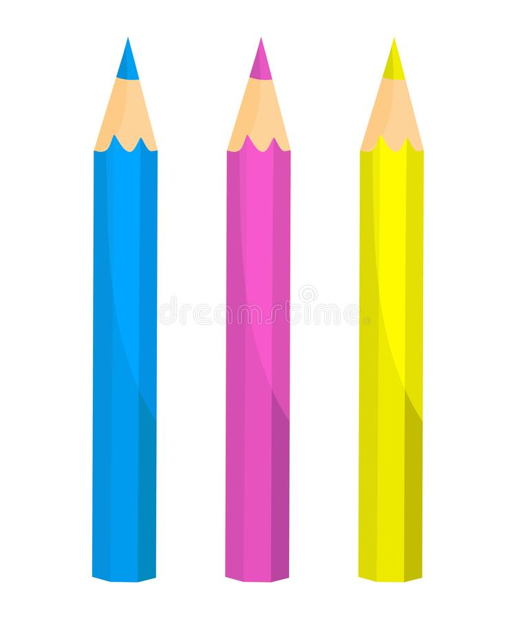 Crayons - colored pencil set loosely arranged stock illustration