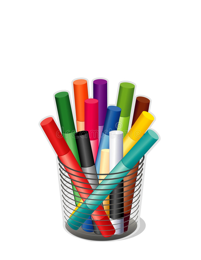 crayons cup pastel vektor illustrationer