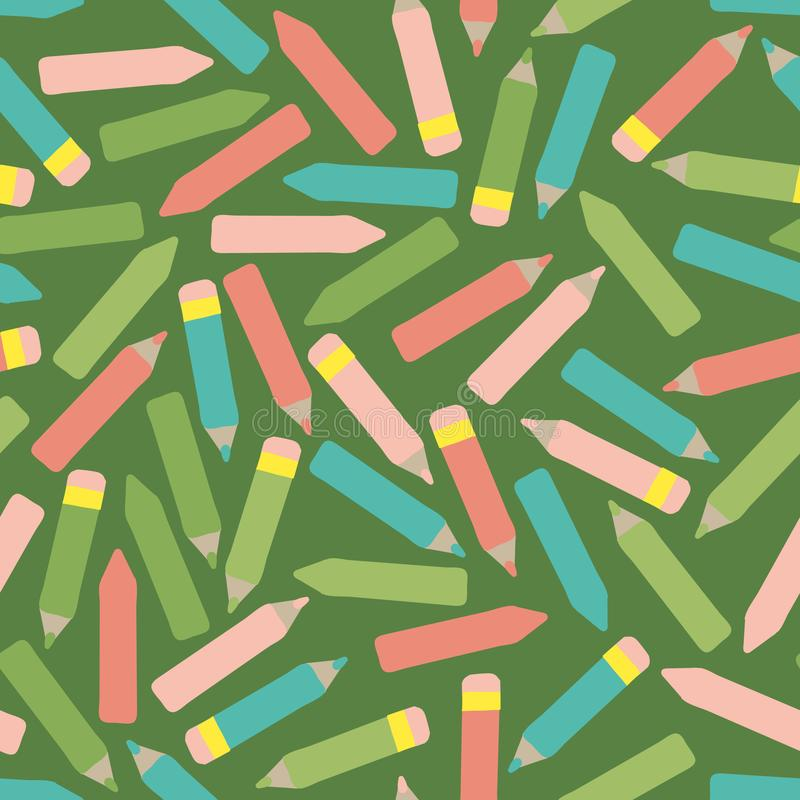 Seamless vector back to school pattern with colorful crayons and wooden pencils. A seamless vector back to school pattern with colorful crayons and wooden vector illustration