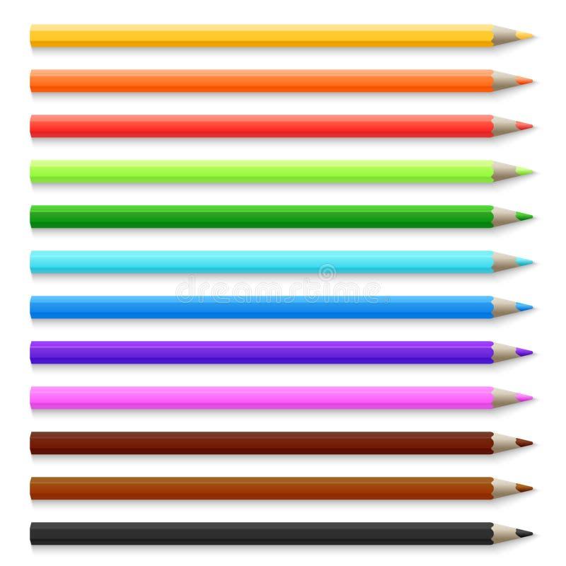 Crayons 3d colorés en bois réalistes d'isolement sur l'illustration blanche de vecteur illustration libre de droits