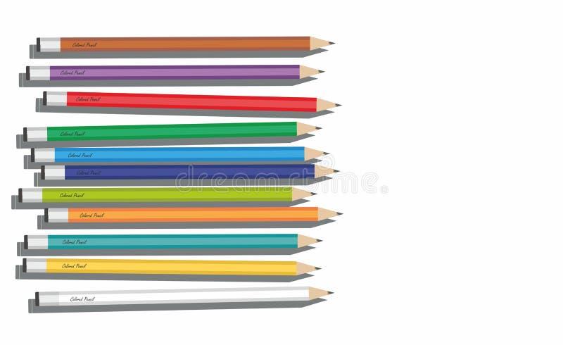 Crayons d'olor de ¡ de Ð d'isolement sur le fond blanc illustration de vecteur
