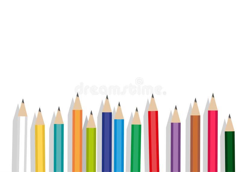 Crayons d'olor de ¡ de Ð d'isolement sur le fond blanc illustration libre de droits