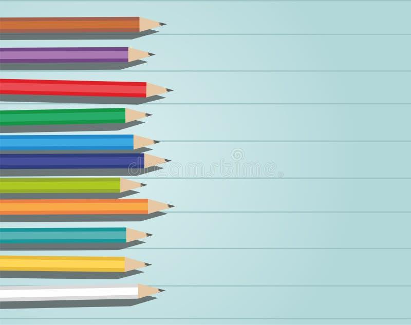Crayons d'olor de ¡ de Ð sur le fond en bois illustration de vecteur