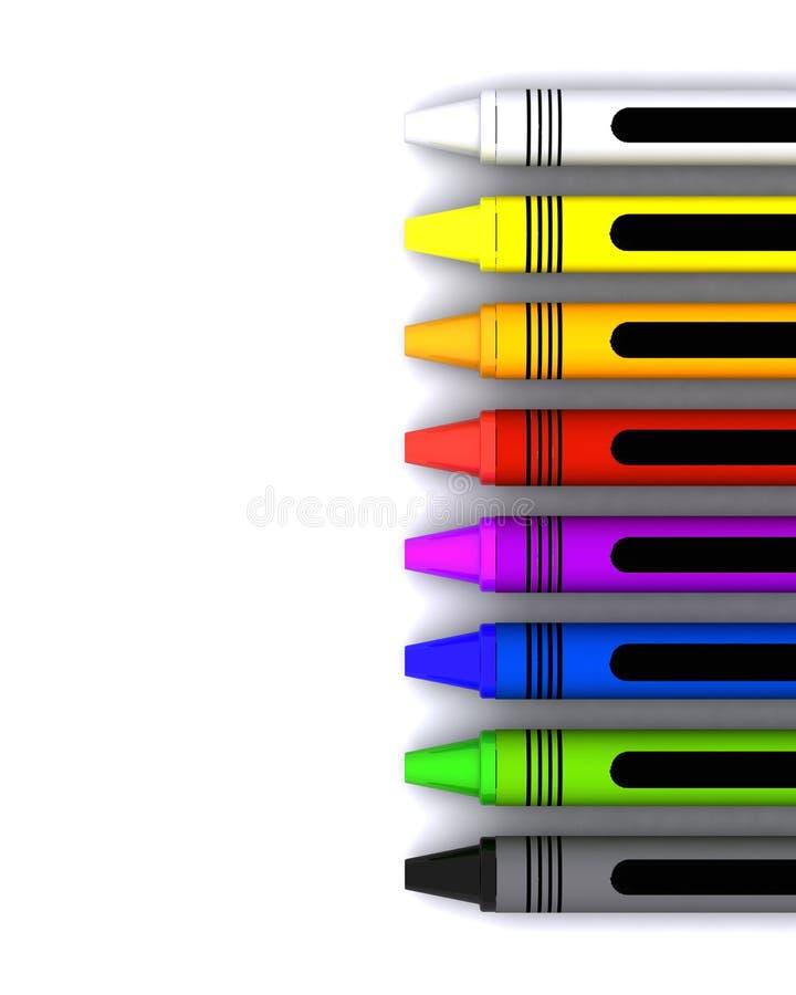 Crayons de cire des enfants colorés illustration de vecteur