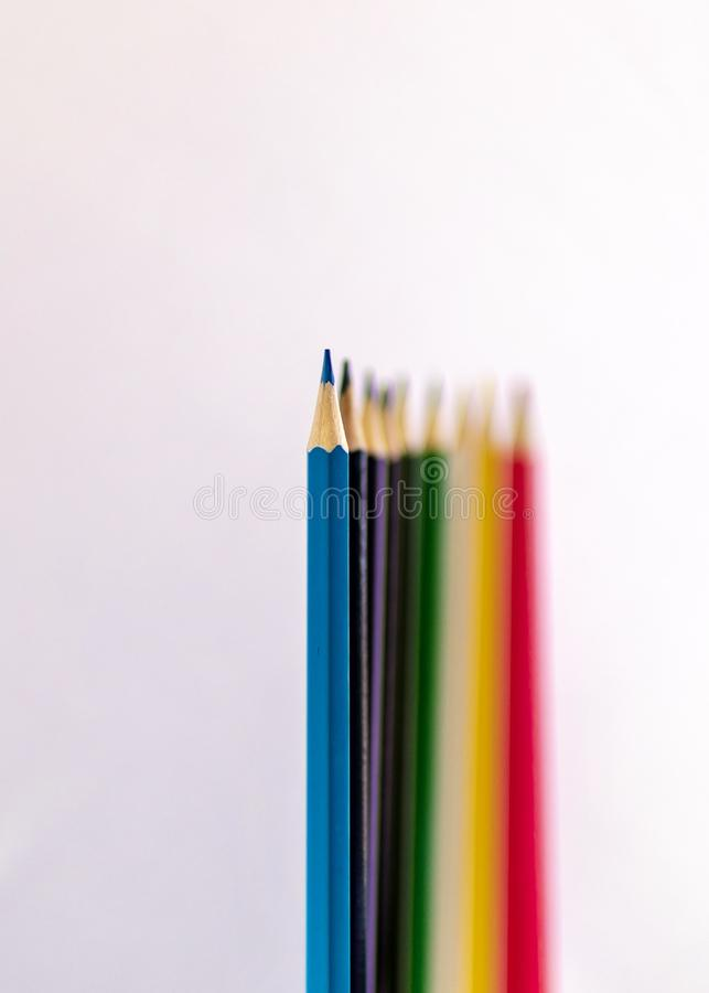 Crayons de coloration Profondeur de photo de champ images stock