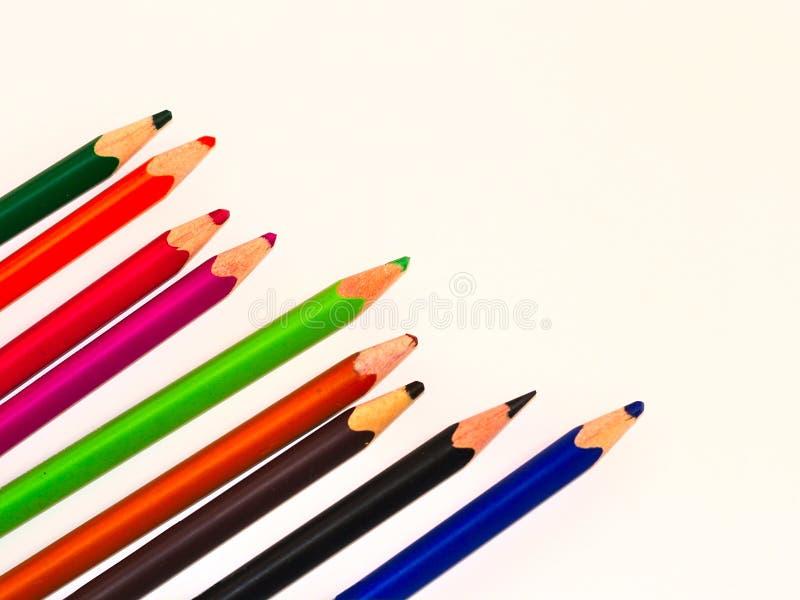 Crayons de coloration utilisés photographie stock libre de droits