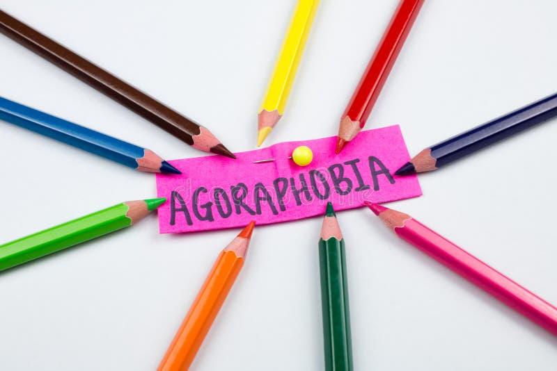 Crayons de couleur d'agoraphobie de conscience de santé mentale image libre de droits