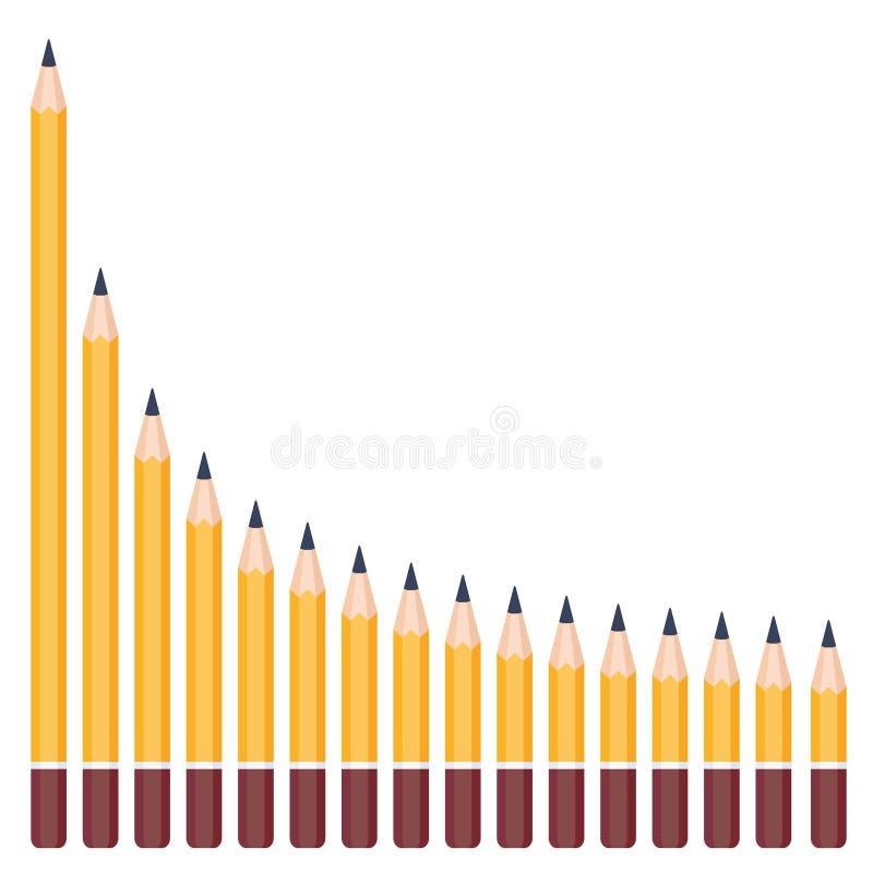 Crayons de différentes longueurs, disposés par ordre diminuer la longueur hyperbolique illustration de vecteur