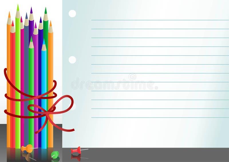 crayons de papier de cahier de couleur illustration libre de droits