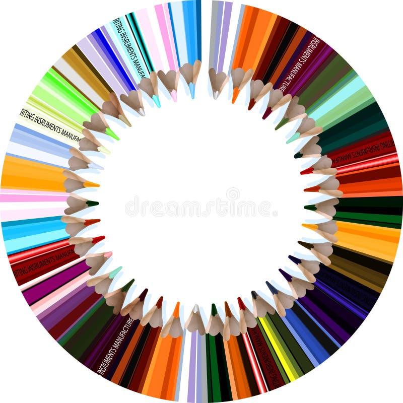 Crayons du cercle o illustration stock
