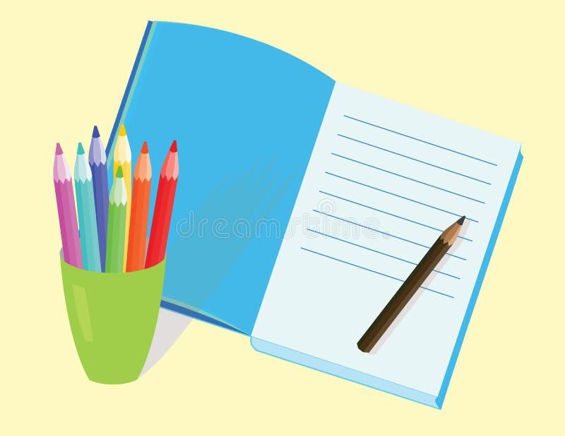 Crayons et agenda illustration de vecteur