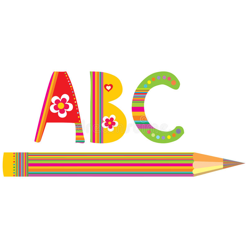 Crayons et alphabets de couleur illustration de vecteur
