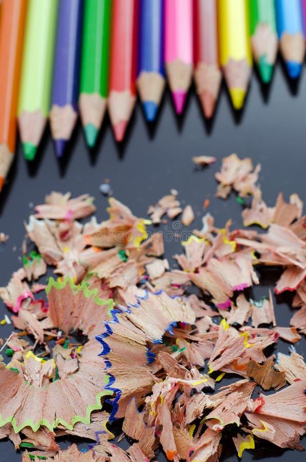 Crayons Et Copeaux Image libre de droits