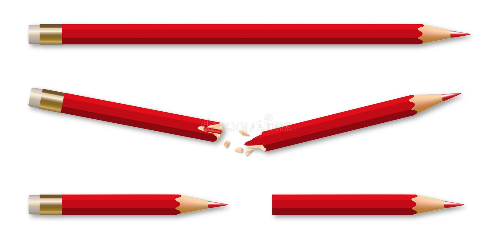A broken pencil regenerates into two new pencils. Faced with adversity, the concept of will with a broken pencil that turns into two new pencils to gain vector illustration