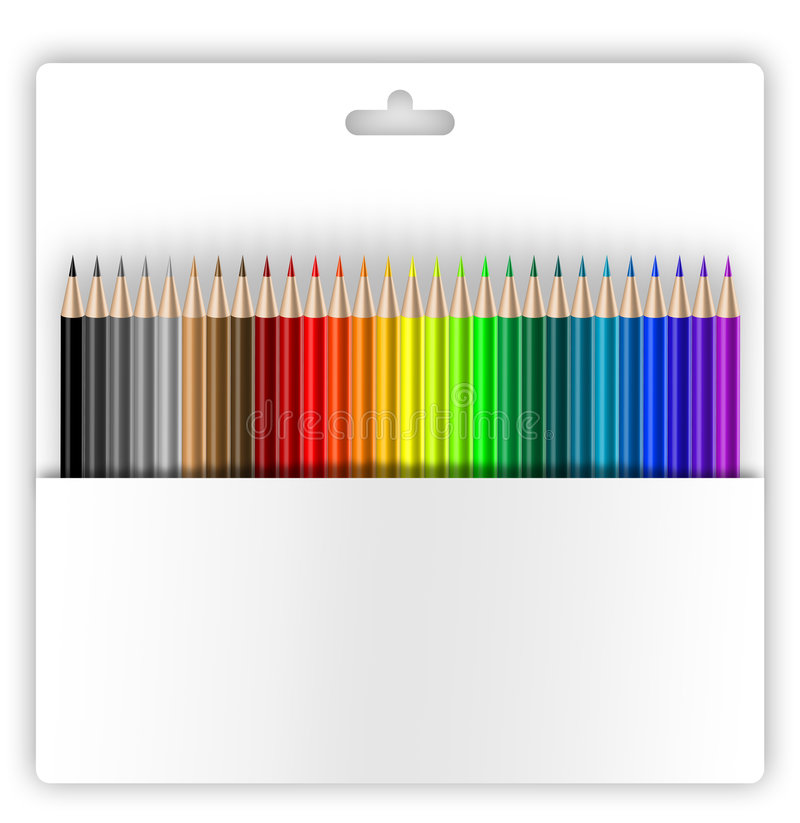 Crayons in holder. Crayons holder on white background, path included, copy-space royalty free illustration
