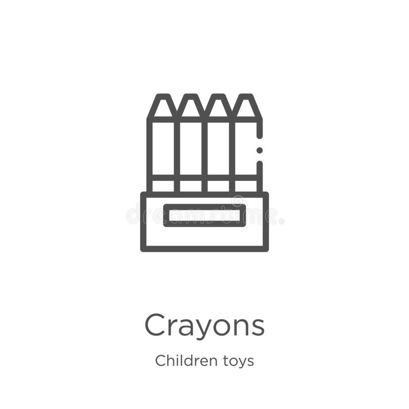 crayons icon vector from children toys collection. Thin line crayons outline icon vector illustration. Outline, thin line crayons royalty free illustration
