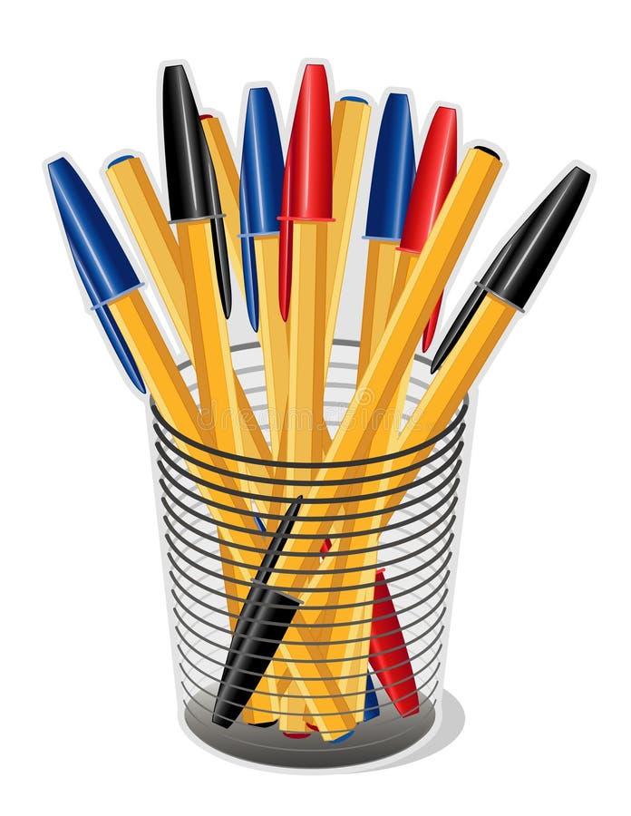 Crayons lecteurs d'encre dans une cuvette (JPG+EPS) illustration de vecteur
