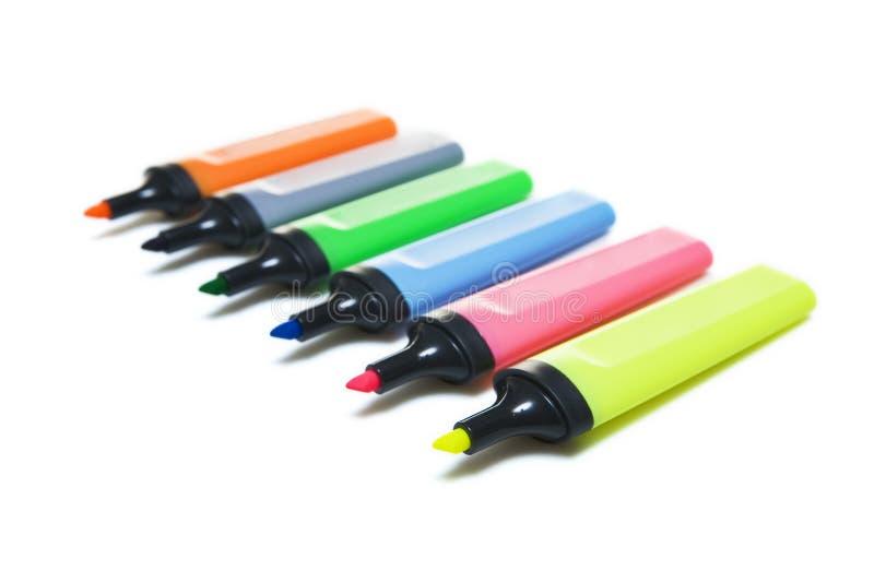 Crayons lecteurs de repère de barre de mise en valeur images libres de droits
