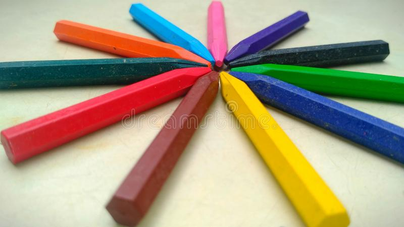 Crayons life. This is a picture of crayons colours stock image