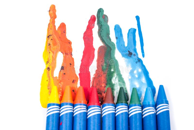 Crayons melted art royalty free stock images